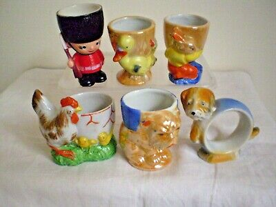 5 X Egg Cups, Serviette Ring X 1 Made In Japan And Hong Kong Vintage.