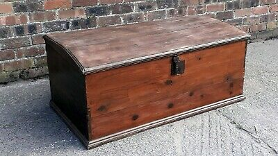 rustic very large Antique Georgian pitch Pine  Chest / Trunk / Blanket Box