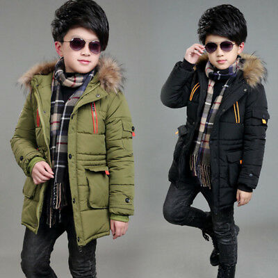NEW Winter Kids Boys Hooded Warm Quilted Puffer Coat Jacket School Trendy Parka
