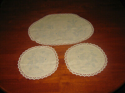Duchess Set To Embroider ~ Fish Bowls ~ Linen ~ Lace Edged ~ New