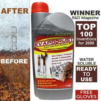 EVAPORUST Metal Rust Remover Ready To Use PH-Neutral Non Toxic 1L 1 Litre+Gloves