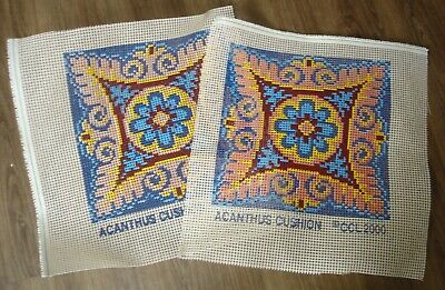 """Pair Cross Stitch Printed Canvas For 14"""" Square Cushion Fronts Acanthus Pattern"""