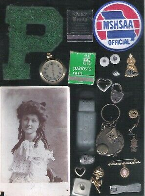 Vintage Junk Drawer Lot Sports Costume Jewelry Toys Watch Pictures More
