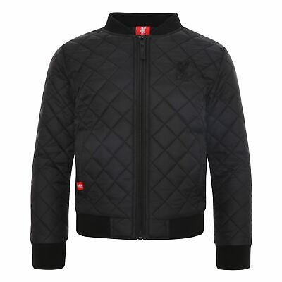 Liverpool FC Junior Quilted Black Bomber Jacket LFC Official