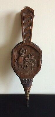 VINTAGE Carved FIRE BELLOWS King Alfred WE