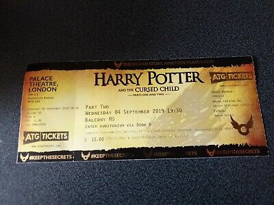 Harry Potter and the Cursed Child - unused ticket - genuine and collectible