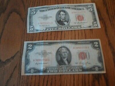 Red Seal Two 2 & Five 5 Dollar Bill United States Money Tender Note 1953
