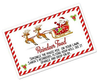 24/48 Magic Reindeer Christmas Food Stickers Labels