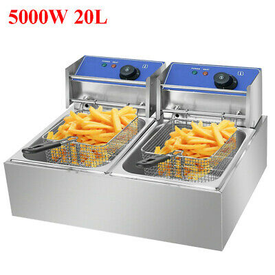 20L 5000W Electric Deep Fryer Commercial Dual Tank for Restaurant rA