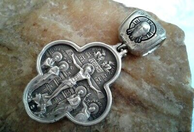 """Vintage Massive Sterling Silver Orthodox Iconic Crucifix """"Our Lady Of The Sign"""""""