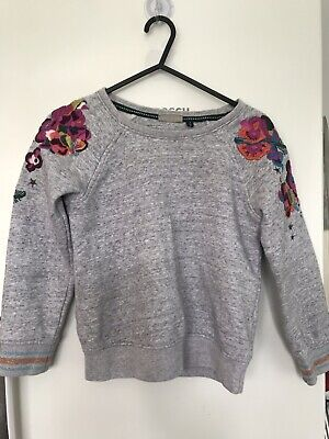 Next Girls Grey Cotton Jumper Embrodied Flowers 8 Years Very Good Condition