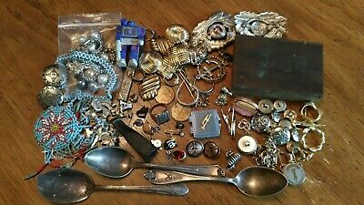 Junk Drawer Lot - Sterling Silver Jewelry Rings Vintage Bell Copper Pins T & Co