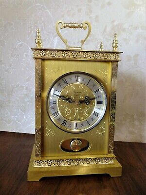 Large Vintage Brass Swinging Pendulum Strike TimeMaster Quartz Carriage Clock