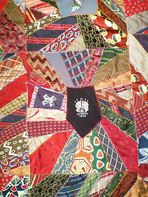 """Amazing Antique Hand Made CRAZY QUILT Made of Old 1930s-40s Neckties 84"""" x 79"""""""