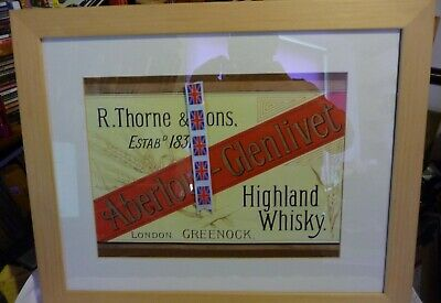 "Rare Old Large Framed Advert ""THORNE'S ABERLOUR-GLENLIVET MALT WHISKY"" C.1900"