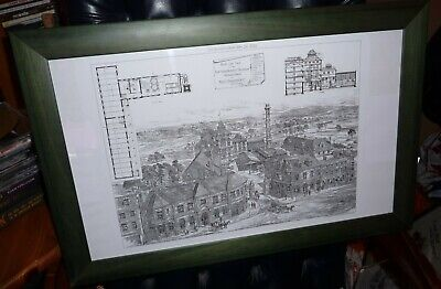 "Very  Rare Old  Framed Etched / Print ""NEW SWAN BREWERY ,WALHAM GREEN 1882"""
