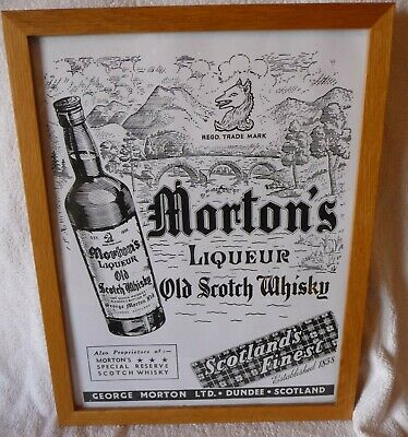 "Rare Old  Framed Advertising Print ""MORTONS OLD SCOTCH WHISKY , DUNDEE """