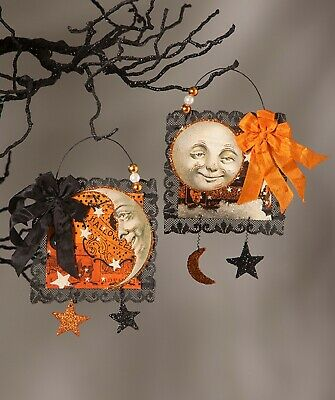 Bethany Lowe Set of 2 Different Magic Moonlight Postcard Ornaments TL7875 New
