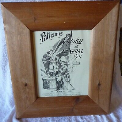 "Rare Old  Framed Advertising Print ""PATTISONS SCOTCH WHISKY / IN GENERAL USE"""