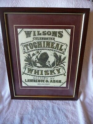 "Rare Old  Framed Advertising Print ""TOCHINEAL SCOTCH WHISKY / Silent Mid 1800s"