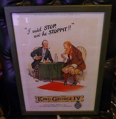 "Rare Old Framed  Print "" KIING GEORGE IV OLD SCOTCH WHISKY, "" 1932"