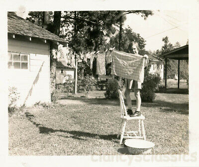 1960 Little Girl Helps Mom Wash Pinned Clothesline on Stool Snapshot