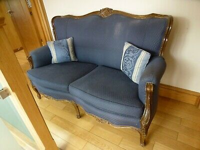Antique EPSTEIN Louis XV Style Re-upholstered 2-Seater Armchair Sofa