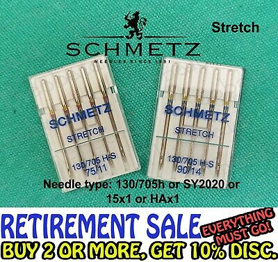 Domestic Stretch Sewing Machine Needles Fit Brother,Janome,Singer,Bernina,Etc.