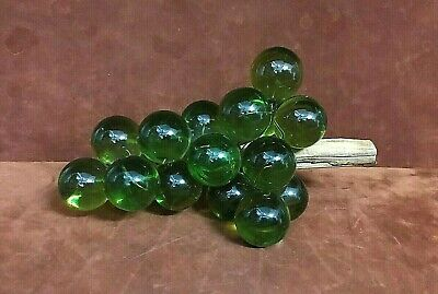 "Mid Century Retro 12"" Large Acrylic Lucite Green Glass Grape Cluster Driftwood"