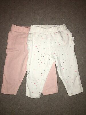 Baby Girl Leggings 2 Pairs Frilly Bum Pink White Glitter 0-3 Mths Trousers Set