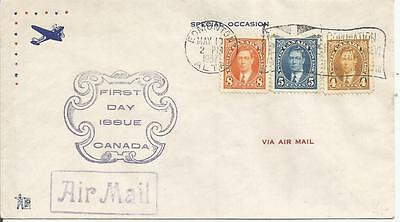 CANADA 1937 KING GEORGE VI 4c 5c AND 8c DEFINITIVES FIRST DAY COVER  REF 423