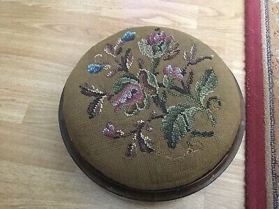 Antique Oak Beaded Embroidered Footstool