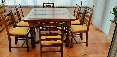 19th. Century Antique Oak Dining Table and 8 Ladder Back Chairs
