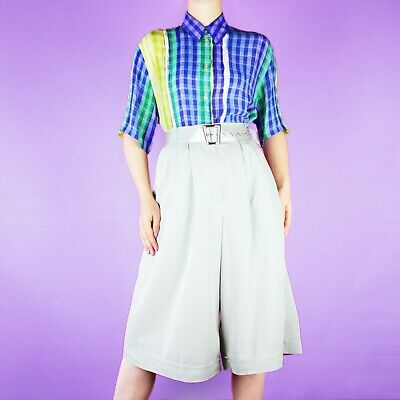 VINTAGE Pastel Blue Light Wide High Waist Casual Knee Midi Shorts Culottes L 16