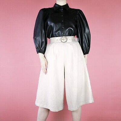 VINTAGE Cream Midi 90s High Waisted Wide Flared Trousers Shorts Culottes S 8