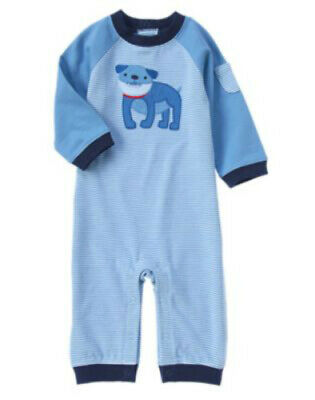 NWT Gymboree Boy STATE FAIR DAY Blue Airplane Polo Romper  3-6 Months