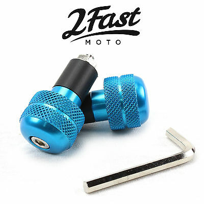"""2FastMoto Blue Aluminum Bar Ends Anti Vibration Pair 7/8"""" Bars Scooter Moped"""