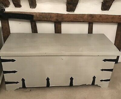Antique Painted Sea Chest Trunk Ottoman Blanket Box