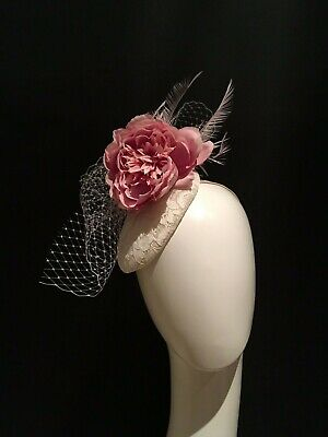 ivory lilac pink Sinamay Flower feather lace Fascinator Races Hair veiling ascot