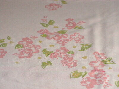 Vintage Pink Cotton Print Tablecloth Pink Blossoms Pink Cotton Flowered Print