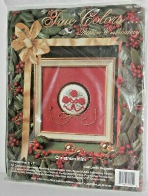 Vintage True Colors CHRISTMAS MINI RIBBON EMBROIDERY KIT #70004 Red Roses NOS