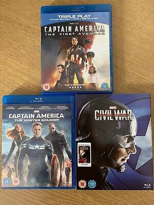 Captain America (Marvel MCU) 1-3 Blu-Ray Movies