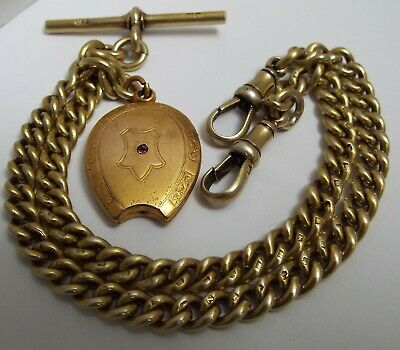 Fine Clean Heavy English Antique 1919 Sterling Silver Gilt Double Albert Chain