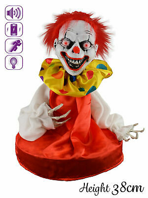 Animated Circus Clown Prop + Lights Sound Halloween House Party Decoration