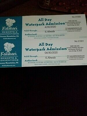 KALAHARI One Day Admission LOT of 2 Tickets ALL DAY WATERPARK NO SATURDAY POCONO