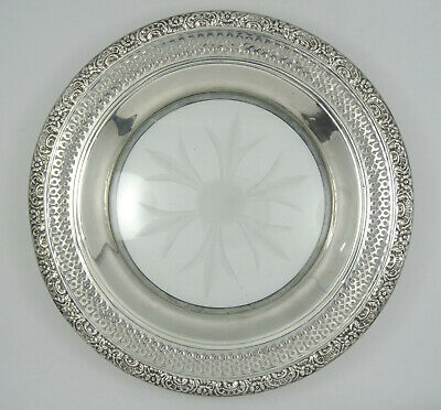 Vintage Ornate Amston Sterling With Etched Glass Candy Nut Dish Plate ~ 6.75""