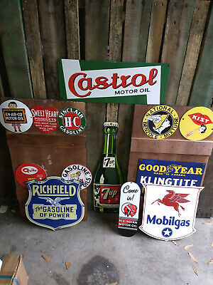 Antique Vintage Old Style PORCELAIN Signs Goodyear Castrol 7up ALL 13 PIECES