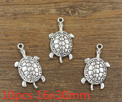 10pcs 16x30mm Turtle Charms Antique Silver Tone Pendant Bead Jewelry Making DIY