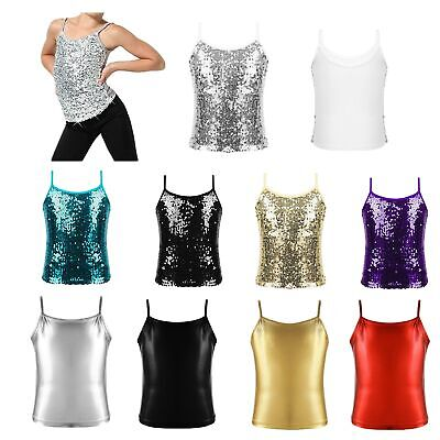 Girls Sparkly Sequined Tank Tops Kids Spaghetti Shoulder Performance Camisole