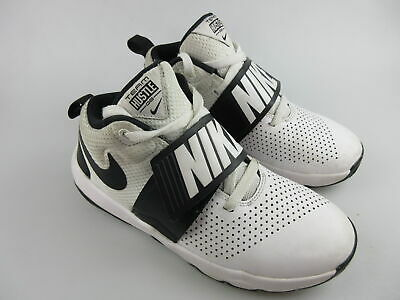 Boy's NIKE 'Team Hustle D8' Sz 5Y US BBall Shoes White VGCon | 3+ Extra 10% Off